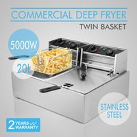 Wholesale Deep Fryer Electric - 5000W 20L Electric Commercial Deep Fryer Twin Basket Steel electric fryer commercial chicken pressure fryer w Cooking timer