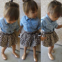 Wholesale Ladies Long Skirts Wholesale - Baby girls fashion lady dress 3pc set denim blue shirt+leopard skirt+waistband belt infants kids cute outfits for 2-7T