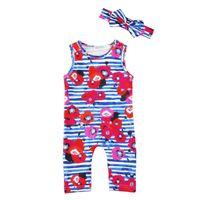 Wholesale Girls Clothes Size 12 Months - 2017 Girls Baby Rompers Clothing Sets Floral Jumpsuits Headbands 2Pcs Set Newborn Onesies Toddler Romper Infant Bodysuit Boutique Clothes