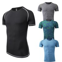 Wholesale Skin Tight Clothes - New Mens T-shirts Short Sleeve O-neck Compression Tops Cool Skin Tights Camo Workout Clothes Gyms Slim Fit Tracksuit Bodybuilding Wear Blue