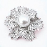 Wholesale Summer Costume Jewelry - Rhodium Plated Clear Crystal Rhinestone Alloy Flower Wedding Jewelry Brooch Popular Flower Women Costume Summer Brooch Pins Special Gift Pin