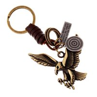 Wholesale key chain ring bronze for sale - Group buy Alloy eagle retro woven leather key chain Creative bronze color key ring New personality auto and bag pendant