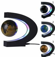 Wholesale C Shape LED World Map Light Decor Magnetic Levitation Floating Globe Floating World Map Globe e LED Light inch globe KKA1248
