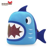 Barato Saco De Escola Azul Dos Meninos-NOHOO Waterproof School Bags Blue 3D Shark Kids Mochila Cartoon Animal Children School Bags para meninas Boys Toddler Baby Bag