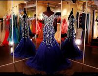 Wholesale Brown Rhinestone Brooches - Bling Bling Royal Blue Beading Rhinestone Vestido de Festa de renada 2017 Crystal Tank Mermaid Pageant Gowns Long Evening Dress