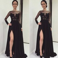 Wholesale Long Sleeved Back Zipper Dress - 2017 Sexy Sheer Evening Gowns Sleeves Bateau Neck Illusion Top Long Sleeved Lace Appliques Black Prom Gowns with High Split Sweep Train