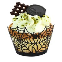 Wholesale Love Cupcake Wrappers - Wholesale-12pcs lot Halloween Spiderweb tomb of Love Laser Cut Cupcake Wrappers Liners Party Decorations