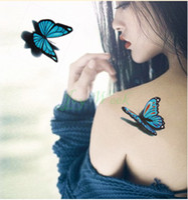 Wholesale Girl Butterfly Tattoos - Wholesale-Temporary Tattoo Sticker 3D butterfly tattoo girl small size Water Transfer Flash tattoo Fake Tattoo Waterproof Body Art