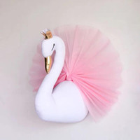 Wholesale Wedding Dolls Animals - Cute 3D Golden Crown Swan Wall Art Hanging Girl Swan Doll Stuffed Toy Animal Head Wall Decor for Kids Room Birthday Wedding Gift