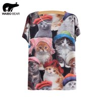 Wholesale Thin Wholesale Tee - Wholesale-2016 Casual Thin Summer Ladies Tops Short Sleeve Cats Printed T Shirt Female Lovely Cats Family Print Tee Shirt Femme Plus Size