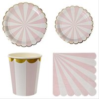 Wholesale Dish Paper - Gold Paper Dishes And Gold foil paper nakpins pink paper cups Mix party deco Free Shipping via FEDEX   DHL   EMS