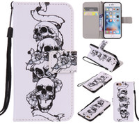 Wholesale Galaxy S3 Case Lanyard - Fashion Flip Leather Wallet Stand with Lanyard Card Pattern Case Cover for Iphone 5 5s 5c 6 6 Plus 6S 6S Plus 7 7plus Samsung Galaxy S3 S4 S
