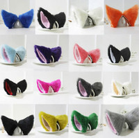 Wholesale Sexy Costumes Hair - Multi-Colored Party's Cat Fox Long Fur Ears Anime Costume Hair Clip Cosplay Ears 21 Colors