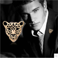 Wholesale Tiger Head Scarf - Wholesale- Cool Style Tiger Head Scarf Clip Animal Leopard Brooch Badge Gold Silver Plated Alloy Hollow Brooches Fashion Jewelry Accessory
