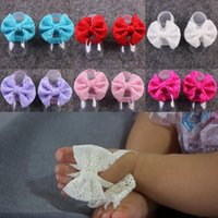Wholesale Bow Stretch Ring - 2017 Baby Barefoot Sandals Lace Bow Sandals Summer Newborn Wristlet Toddler Girls First Walking Shoes Photography Props Baby Feet Rings Cute