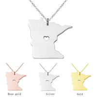 Wholesale Stainless Steel Mn - Minnesota Map Stainless Steel Pendant Necklace with Love Heart USA State MN Geography Map Necklaces Jewelry for Women and Men