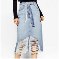 Wholesale Bow Knot Jeans - 2017 Summer knot Holes high waist Long Denim Jeans Dresses for women Sexy Ladies Party Dress spring autumn Clothes Big Plus Size new