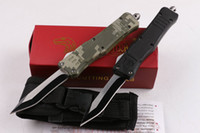 Wholesale Blade Curve - Automatic knives MICRO TECH troodon allumen handle Curved blade Serration with Pocket Clip Sheath tactical knife camping knives 2 styles