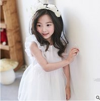 Wholesale Korean Style For Summer - Big Girls dress summer fly sleeve ruffle princess dress for kids cotton bowknot belt tulle tutu dress korean style children clothes T0915