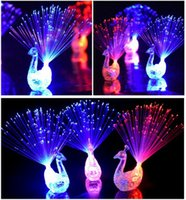 Wholesale Lead Rings For Fingers - DY342 LED Flashing Peacock Fiber Optic Finger Lights Rings for Raves or Party Favor