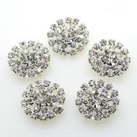 elmas saplı kristal el sanatları toptan satış-100 adet 19mm Yuvarlak Metal Kristal Rhinestone Düğme Düğün Dekor Bezemeler Hazırlama DIY Saç Aksesuarı Fabrika Doğrudan