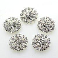 accesorios artesanales de strass al por mayor-100pcs 19mm Botón redondo de cristal de diamantes de imitación de cristal Decoración de la boda Adornos Fabricación de accesorios para el cabello DIY Fábrica directa