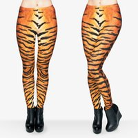 Wholesale hottest girl yoga pants online - Women Leggings Tiger Fur D Graphic Print Girl Pencil Fit Skinny Stretchy Yoga Wear Pants Sportwear Elastic Waist Band Trousers Hot J29542