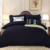 seide tencel großhandel-Großhandel-Schwarz Bettwäsche Set in König Queen Size Luxuriöse Seide Bett Set Bettbezug Flache Bettwäsche Tencel Gemütliches Schlafzimmer Textil Jogo de Cama
