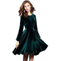 Wholesale Plus Size Work Clothes - 2017 Women Winter Vintage Green Velvet Dress Womens Long Sleeve Retro Party Dresses Vestido De Verao Plus Size Women Clothing 3X
