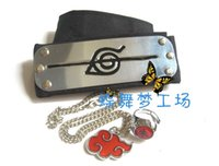 Wholesale Naruto Necklace Set - Naruto Uchiha Itachi Akatsuki Headband Ring Necklace 3 Pcs SET cosplay anti edition