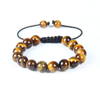 Wholesale High Quality Shamballa Bracelets - Fashion Mens Shamballa Woven Bracelet 10pcs High Quality 10mm Tiger Eye Stone Bead Jewelry For Gift