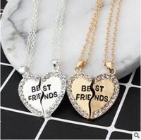 Wholesale Two Heart Pendant - Heart pendant in English alloy sautoir Fashion two good friends necklace set auger best friends necklace