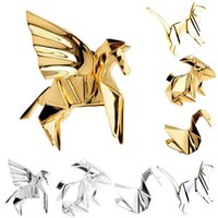 Wholesale Rabbit Jewellery - Fashion Gold Silver Geometry Origami Animal Brooches Metal Cat Rabbit Horse Bird 3D Pins Badge Corsage Jewellery