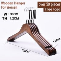 Wholesale cm Vintage solid wooden hangers Custom logo design wedding dress women hangers Hotel store hangers