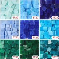 200g / 135 pcs 15 X 15mm 9/16 inch Blue Series Stained Glass Tile, Mosaic Hobbies, Material de DIY Fornecedor, Mini Loose Tiffany Glass Pieces