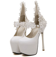 Wholesale High Heels 16cm - Size 35~40 White Flower Wedding High Heels Shoes 16cm Autumn Lace Women Pumps Fashion Women Shoes zapatos mujer (Check Foot Length)