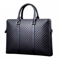 Wholesale Horizontal Genuine Leather Bags - Man briefcase leather bag computer horizontal style portable bag