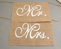 Wholesale Burlap Wedding Banners - Khaki Mr. & Mrs. Burlap Chair Banner Set Chair Sign Garland Rustic Wedding Party Decoration