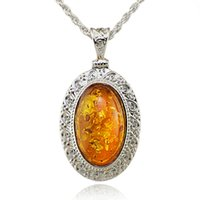 Wholesale Exquisite Carved Jewelry - Wholesale-Silver Oval Baltic Faux Amber Honey Carved Exquisite Tibet Silver Pendant Necklace Fashion Jewelry L00501