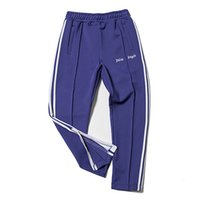Wholesale Cotton Track Pants Men - Palm Angels Track Pant Men Women Fashion Stripes Casual Pants Black Blue Ankle-Zip Pants Hip Hop Bottoms Jogger Pant PXG1025