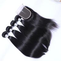 Wholesale Brazilian Hair Bundles Bleachable - Brazilian Straight Human Hair Weaves Extensions 3 Bundles with Closure Free Middle 3 Part Double Weft Dyeable Bleachable 100g pc