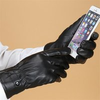 Wholesale Motorcycle Iphone Waterproof - Men Women Unisex Touch Screen Gloves Motorcycle Cycling Mittens Winter Warm PU Leather Gloves Waterproof Windproof Full Finger Glove