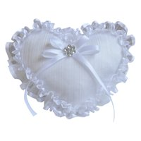 Wholesale Love Heart Shaped Pillows - 6pcs lot Western Wedding Props Ring Pillow White Lace Heart Love Shape Ring Holder Pillows Creative Wedding Supplies Romantic Jewelry Pillow