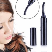 Wholesale Eyelash Electric Brush - Wholesale-Portable Power-driven Curved Double Side Electric Eyelash Brush Curler Heating Eyelash Brush Device