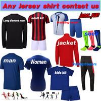 meilleures femmes achat en gros de-Accepter toute coutume maillots de football Adulte homme enfant femme Mesdames Top maillots de football Enfants formation vêtements Meilleure qualité Uniformes