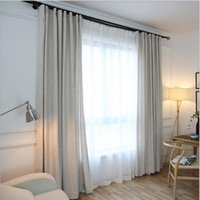 Wholesale New Arrival linen pure color blackout curtain for living room bedroom simple modern green cream colored fabric price