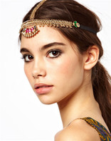 Wholesale Rhinestone Forehead Band - Bohemian Women's Peal Tassel Head Chain Jewelry Forehead Dance Headpiece Hair Band Hair Chains For Women Crystal Hair Chain Headchain
