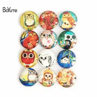 Wholesale Diy For Jewelry - BoYuTe 10 Sizes Mix Round Image Owl Glass Cabochon Vintage Diy Accessories Parts Supplies for Jewelry