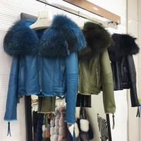 Wholesale Wool Coat Leather Sleeves Women - luxury 2017 winter jacket women real natural raccoon fur collar with sheepskin leather shearling coat short fur coats women green black