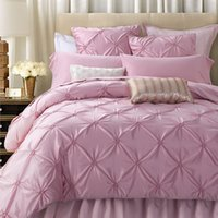 Wholesale Pinch Pleats - Wholesale- SunnyRain 4 6-Pieces Handwork Pinch Pleats Luxury Bedding Set King Size Queen Bed Set Wedding Bedding Sets Duvet Cover Bed Sheet